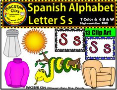 "Letter S s Spanish Alphabet Clip Art   Letra Ss Personal and Commercial Use ""MACSTAR Clips   13 images in totalYou will receive: 7 Color Clip Art: As shown in the preview sal, serpiente, silln, sof, suter, and two letter labels or tiles6 Black and White Clip ArtAll images have high resolution and are in PNG formats so they can easily be layered in your projects and lesson materials.Terms of Use:The clip art may be used in educational commercial products."