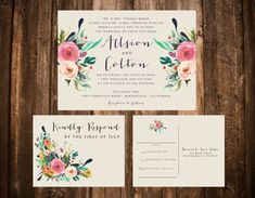 Bright Bohemian Floral Wedding Invitation Set by papernpeonies