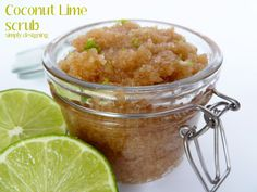 Coconut Lime Raw Sugar Scrub!!  - Made with only 3 ingredients!!  It's so yummy smelling and is an amazing DIY Homemade scrub to exfoliate and get your hands / feet / bod summer ready!  #scrub #diy #homemade