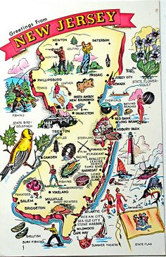 """Greetings from New Jersey map postcard - Back text: """"Nickname - Garden State Area in Sq. Miles - Entered the Union, Dec : New Jersey, Jersey Girl, Perth Amboy, Cape May, Vintage Travel Posters, Vintage Postcards, Vintage Maps, Vintage Theme, State Map"""