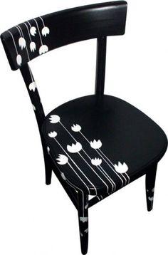 sedia dipinta Fiori Bianchi