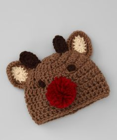 Brown Reindeer Knit Beanie