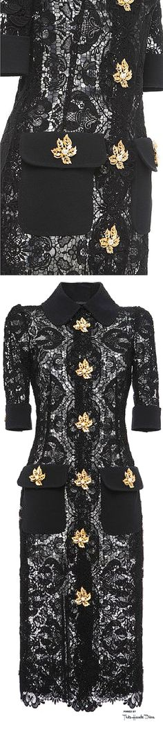 Dolce & Gabbana Fall 2015 Black Lace Shirt Dress With Leaf Brooch Elements ♔THD♔