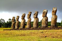 They stand tall and proud, seven giant moai statues of equal shape and size. Filled with mystery and astronomical precision, Ahu Akivi is a sacred celestial observatory said to have been built way back in the 1500′s. It's not the most recognized collection of moai statues on the island, like Ahu Tongariki or Rano Raraku, but they are equally impressive. An interesting fact about Ahu Akivi is that the weathered moai statues... Discovered by Cam Wears at Easter Island, Easter Island, Chile