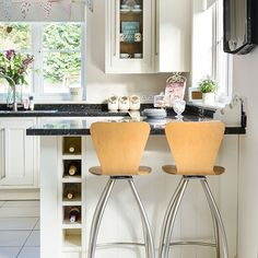 Cream and granite kitchen breakfast bar | Kitchen decorating | Style at Home | Housetohome.co.uk