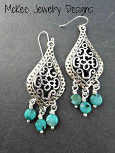 Chandelier earrings. Blue stone and sterling silver earrings.