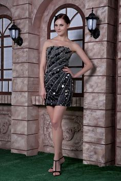 Sheath/Column Strapless Taffeta Sequins Beading Mini Length Cocktail Dress