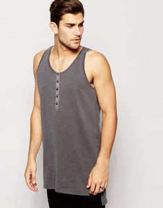 """Vest by ASOS Lightweight jersey Scoop neck Partial button placket Stepped hem Longline cut Cut longer than standard length Machine wash 100% Cotton Our model wears a size Medium and is 188cm/6'2"""" tall"""