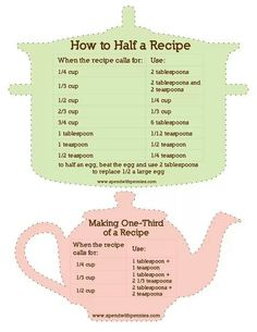 cooking tips - I end up having to do the math for this all the time! Guide to Halving a Recipe! by juliette Kitchen Cheat Sheets, Half And Half Recipes, How To Half A Recipe, Half Recipe Chart, Cooking Tips, Cooking Recipes, Beef Recipes, Salad Recipes, Kitchen Measurements