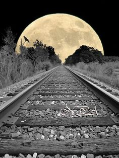 """Inspiration for Chosen Road"""" Credits: Railroad Tracks to the Full Moon with Crow door nicolphotographicart Galerie Saatchi, Cool Photos, Beautiful Pictures, Shoot The Moon, Moon Pictures, Full Moon Photos, Beautiful Moon, Train Tracks, Moon Art"""