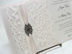 FILIGREE Lace Wedding Invitation Vintage by LavenderPaperie1