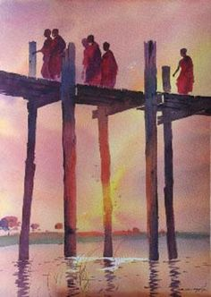 """There is a magnet in your heart that will attract true friends. That magnet is unselfishness, thinking of others first; when you learn to live for others, they will live for you."" ~ Paramahansa Yogananda lis Myoe Win Aung - U Bein Bridge Watercolor Landscape, Watercolor Paintings, Watercolors, Buddhist Art, Buddhist Monk, New Artists, Yangon, Asian Art, Illustrations"