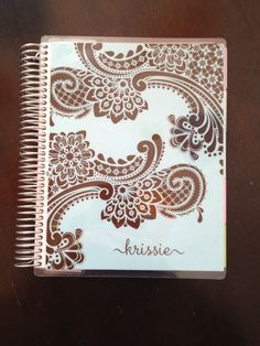 Erin Condren notebook - Paisley. Pool background with chocolate pattern. Name in International script.