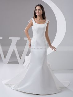 Nia - sirena tondo abito da sposa in raso con applique