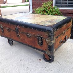 Vintage Trunk on wheels with decoupaged map of the world to the top and Modern Masters Metal Effects rust finish on the body! Project by Don Gray of Out of the Gray Designs