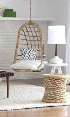 Nowdays, the hanging swing chair has a lot of model, shades and styles. And now some of this lovely chair are suitable for indoor placed. Here are a lot of design ideas about relaxable swing chair that will inspire you. My New Room, My Room, Modern Furniture, Home Furniture, Wicker Furniture, Cheap Furniture, Shabby Chic Zimmer, Indoor Swing, Living Spaces