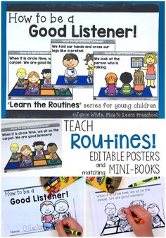 Teach ROUTINES and PROCEDURES with these editable posters and matching mini-books. Includes 6 titles: How to use the Bathroom, How to work at Centers, How to be a Good Listener, How to do a Fire Drill, How to Make Good Choices and How to Greet a Friend.
