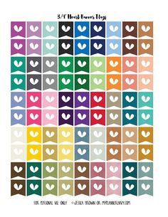 Heart Banner Flags - Free Planner Printable