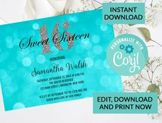 Aqua Bokeh Lights Silver Glitter Sparkle Sweet 16 Invitation #96 | Digital INSTANT DOWNLOAD Editable Invite | Sweet Sixteen Birthday by PurplePaperGraphics on Etsy Sweet 16 Invitations, Party Invitations, Invite, Hanging Mason Jars, Sixteenth Birthday, Bokeh Lights, Sweet 16 Parties, Sweet Sixteen, Silver Glitter