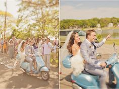 light blue moped, moped wedding transport, alternative wedding transport