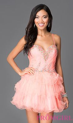 Short Strapless Ruffled Dave and Johnny Dress 8368 at PromGirl.com