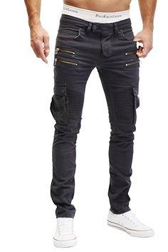 MERISH Herren Bikerchino Jeanshose Denim Chino Zipper BeintaschenTrend Jeans Hose Neu J2055 Anthrazit W30