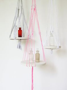 macrame hanger   pink thread and beading   plant by recycledlovers, $25.00