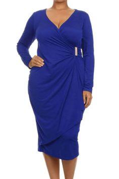 Blue Asymmetric Wrap Long Sleeve Dress