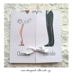 """partecipazioni matrimonio """"disegno sposa e sposo"""" wedding invitations """"bride and groom shoes"""" Album, Card Book"""