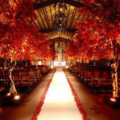 Fall weddings are my favorite…Here is a picture of a stunning fall wedding done by Preston Bailey. He is amazing! Wedding Ceremony Ideas, Fall Wedding Decorations, Ceremony Decorations, Wedding Reception, Wedding Centerpieces, Reception Entrance, Wedding Aisles, Arch Decoration, Church Decorations