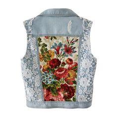 Light blue Denim vest embellished jacket white lace floral bouquet... ❤ liked on Polyvore featuring outerwear, embellished blazer, floral blazer jacket, floral-print blazers, white blazer jacket and lace blazer jacket