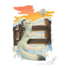Illustration for a winter animal collection. Here an ermine in the snow observing the sunrise beyond it. Where Do I Live, Dinosaur Stuffed Animal, Sunrise, Mystery, Snow, Shapes, Illustrations, Dark, Drawings