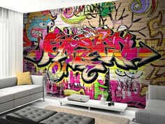 Graffiti Wall wall mural - for wall in stairwell or a wall in studio? Graffiti Wall Art, Graffiti Wallpaper, Wall Wallpaper, Wall Murals, Bedroom Wallpaper, Spray Paint Wall, Wallpaper For Sale, My New Room, Boy Room
