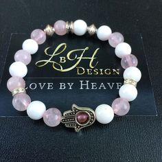 """Lányok...Lányok... Fatima keze /Rózsakvarc - Jade / #womanstyle #bracelet #gemstone #goodvibes #jewelery #LoveByHeaven #lbhdesignbyalone #hamsa #new #lucky #limited """"LbH design - ahol a karkötő nem csak divat"""""""