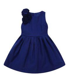 Look at this #zulilyfind! Blue Rosette Babydoll Dress - Infant, Toddler & Girls #zulilyfinds