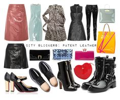 """""""City Slickers: Patent Leather"""" by curekitty on Polyvore featuring Christian Louboutin, Halston Heritage, Theory, Bao Bao by Issey Miyake, Burberry, Pierre Hardy, Marc by Marc Jacobs, Valentino, Richard Nicoll and Bottega Veneta"""