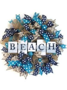 Perfect for beach lovers! Trendy Home Decor, Industrial Farmhouse, Summer Wreath, Lovers, Wreaths, Beach, Handmade, Color, Colour