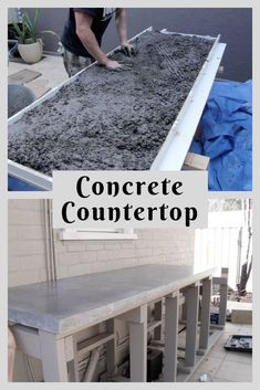 "How do I create a concrete worktop DIYGet great tips on ""outdoor kitchen tiles"". They are accessible to you on our website. outdoorkitchencountertopstileHow to build outdoor kitchen cabinets?An outdoor kitchen can be a real treat, Diy Concrete Countertops, Outdoor Kitchen Countertops, Kitchen Countertop Materials, Diy Concrete Patio, Concrete Counter Tops Kitchen, Pallet Countertop, Concrete Bar Top, Kitchen Cabinets, Build Outdoor Kitchen"