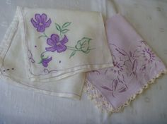Vintage Embroidered Violet FLORAL HANDKERCHIEFS Two