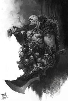 Warlord – fantasy character concept by NI Yipeng Dark Fantasy Art, Fantasy Kunst, Fantasy Artwork, Dark Art, Fantasy Warrior, Fantasy Illustration, Character Illustration, Fantasy Inspiration, Character Inspiration