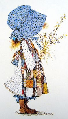 Many people believe that Holly Hobbie is the name of the little girl in the large blue hat, but it isn't, it's the name of the illustrator. Description from flutterbypatch.blogspot.com. I searched for this on bing.com/images