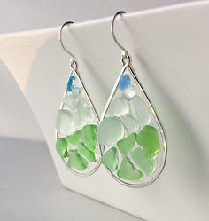 Blue Green Sea Glass Earrings, Beach Glass Hoops, Resin Hoop Earrings, Boho Beach Hoops, Seafoam, Aqua by BellaAnelaJewelry on Etsy https://www.etsy.com/listing/198769797/blue-green-sea-glass-earrings-beach