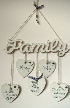 shabby chic style wooden heart hanging family tree photo plaque mothers day gift in Home, Furniture & DIY, Home Decor, Plaques & Signs Heart Diy, Heart Crafts, Rock Crafts, Diy Crafts To Sell, Tree Crafts, Valentine Decorations, Valentine Crafts, Heart Decorations, Wooden Hearts Crafts