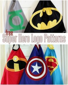 5 FREE Super Hero Cape Logo Patterns for capes, decor, party paraphernalia and more! (AND a link to the free cape pattern. Sewing Crafts, Sewing Projects, Craft Projects, Diy Crafts, Sewing For Kids, Diy For Kids, Crafts For Kids, Superhero Cape Pattern, Kids Cape Pattern
