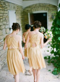 pale yellow bridesmaids dresses : fabmood.com