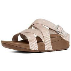 1ed7cc11a92d2f FitFlop The Skinny Criss Cross Slide Sandals in Silversnake colour  available from Brandshop UK with FREE postage and returns.