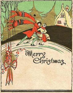 1920s Vintage Christmas card-love the design and the very 1920s green and orangey-red.