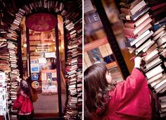 This is the entrance of the bookstore Le Bal des Ardents in Lyon, France.