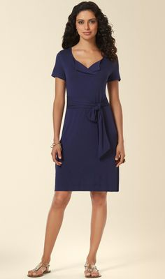 Soma Tee Shirt Slit Neck Dress in Navy - available at soma.com. Not your average t-shirt dress— slit neckline with open placket brings a modern touch and optional self-belt for added shape.