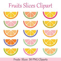 Citrus Clipart Fruit Clipart Rainbow Fruits Clip Art Summer Clipart Citrus Food Clipart Commercial Use Instant Download by ColorDreamStudio on Etsy